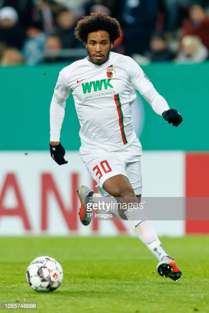Caiuby Francisco da Silva of FC Augsburg controls the ball during the DFB Cup match between FC Augsburg and 1 FSV Mainz 05 at WWKArena on October 30...
