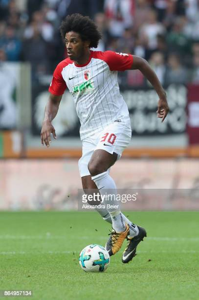 Caiuby Francisco da Silva of FC Augsburg kicks the ball during the Bundesliga match between FC Augsburg and Hannover 96 at WWKArena on October 21...