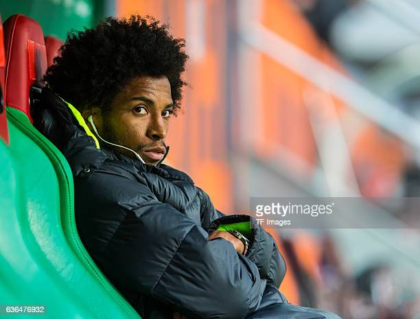 Caiuby Francisco da Silva of FC Augsburg looks on during the Bundesliga match between FC Augsburg and FC Bayern Muenchen at WWK ARENA on February 14...