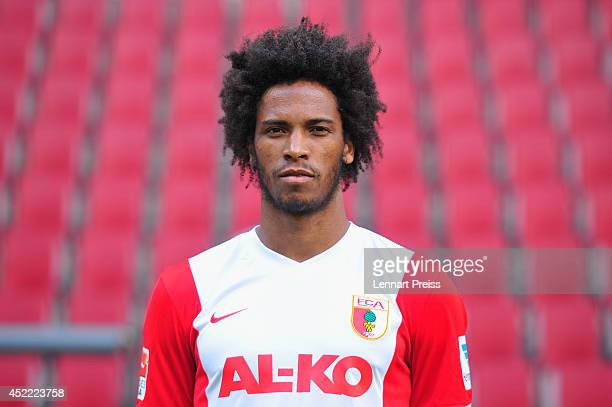Caiuby Francisco da Silva poses during the team presentation of FC Augsburg at SGL Arena on July 16 2014 in Augsburg Germany