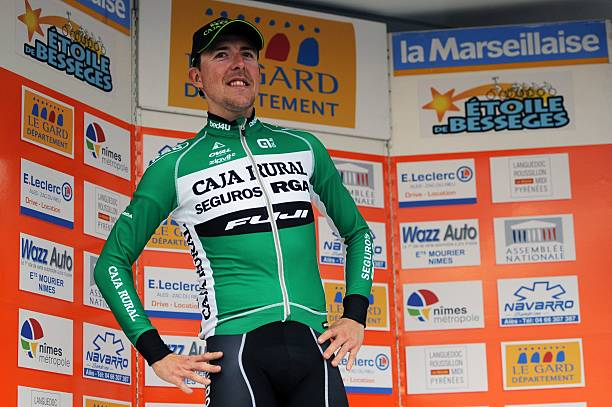 Caja Rural team s Spanish cyclist Angel Madrazo celebrates on the podium  after winning the fourth stage 55f297b9f