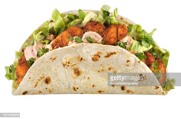 Cajun Fish Taco, isolated on white