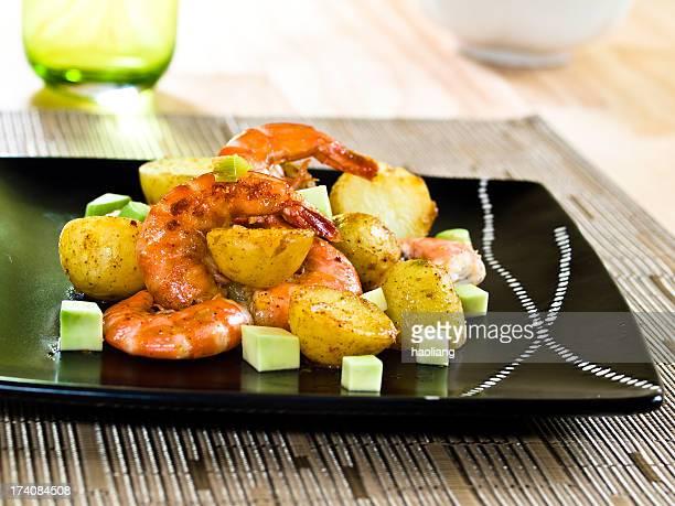 cajun potato &prawn salad