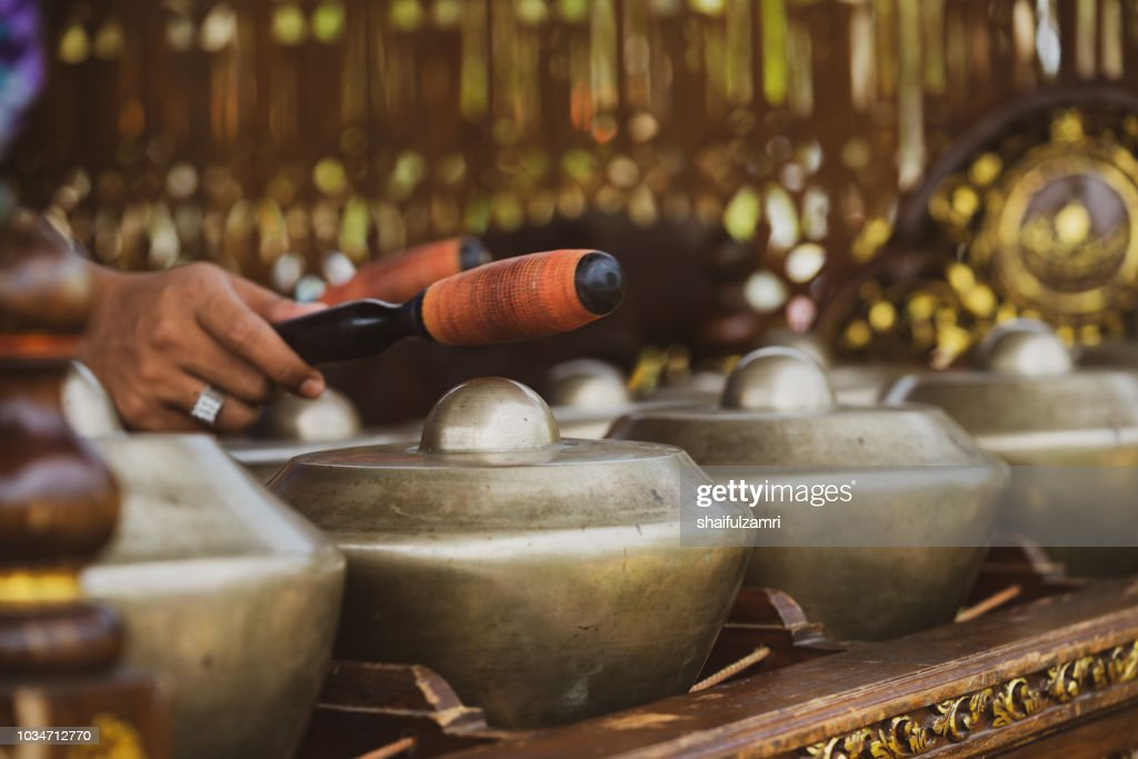 """""""Cak Lempong"""" - a small kettle gong which gives its name to an ensemble of four or five talempong, which is present in the different configurations of the Nobat, a ceremonial traditional orchestra. : Stock Photo"""