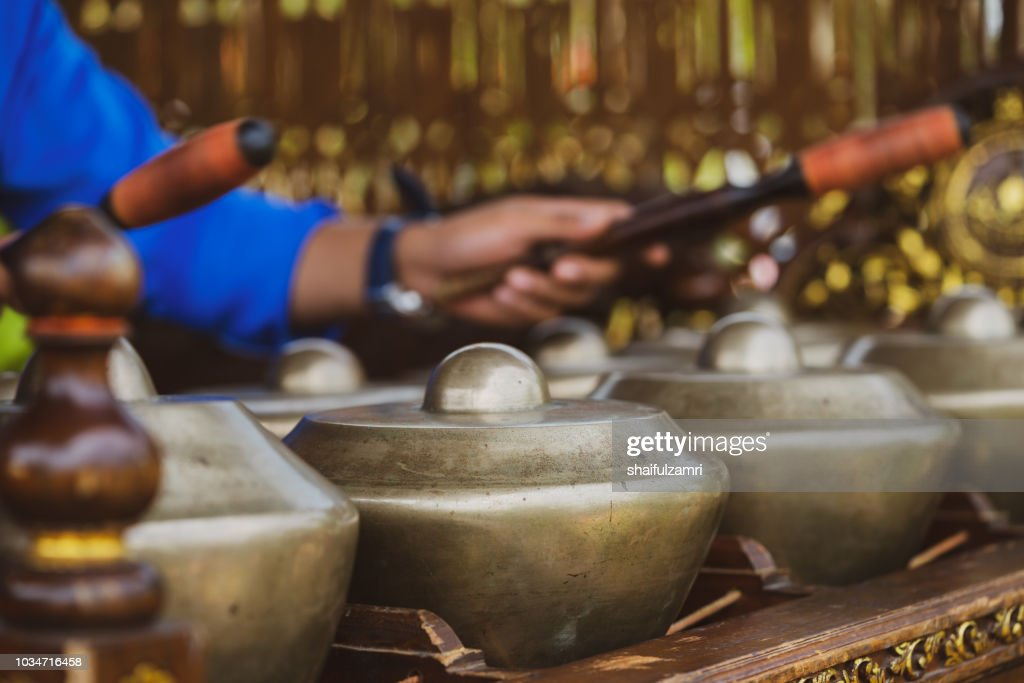 'Cak Lempong' - a small kettle gong which gives its name to an ensemble of four or five talempong, which is present in the different configurations of the Nobat, a ceremonial traditional orchestra. : Stock Photo