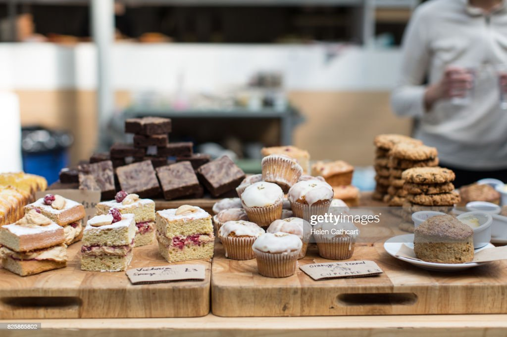 Cake And Biscuit Display In Cafe High Res Stock Photo