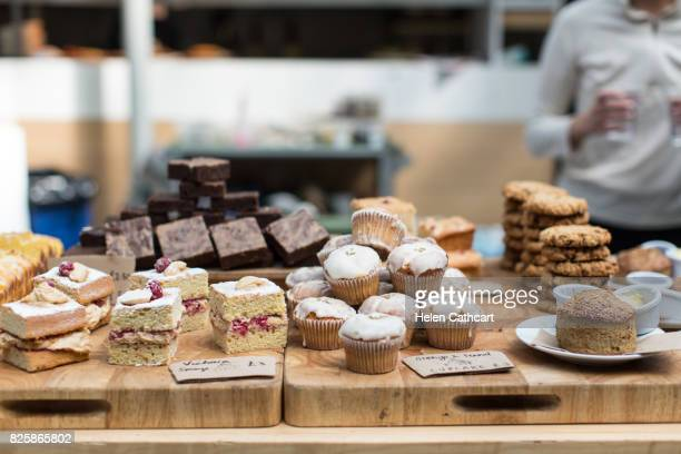 Cake and biscuit display in cafe