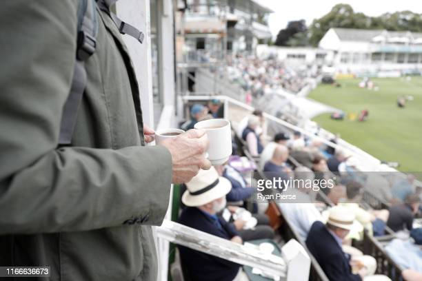 Cake and tea are served in the Ladies Pavilion during day one of the Tour Match between Worcester CCC and Australia at New Road on August 07 2019 in...