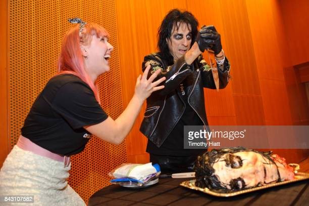 Cake artist Johanna Wyss and Alice Cooper attend a special screening of Wayne's World at Jay Pritzker Pavillion on September 5 2017 in Chicago...