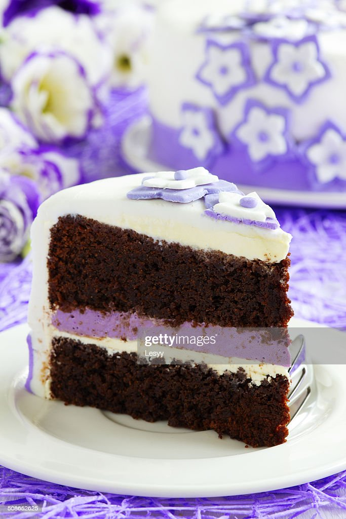 Cake brownie with berry cream. : Stock Photo