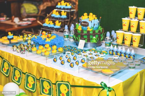 Cake, candy and gifts at birthday party