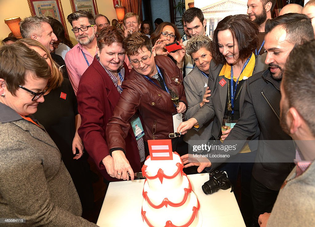 Cake Cutting at the HBO & HRC Wedding Reception For The Case Against 8 on January 18, 2014 in Park City, Utah.
