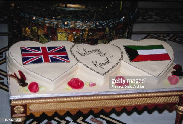 A cake decorated with the words 'Welcome to Kuwait' during a dinner hosted by the Crown Prince of Kuwait Saad AlSalim AlSabah for Prince Charles and...