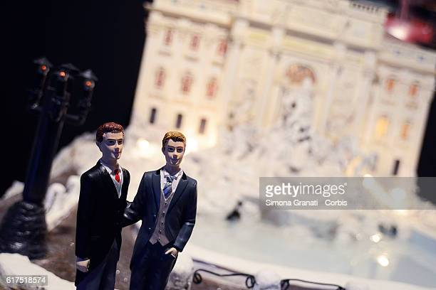 Cake depicting Trevi Fountain exposed at the Gay Wedding Fairthe first exhibition in Italy dedicated to civil unionson October 21 2016 in Rome Italy