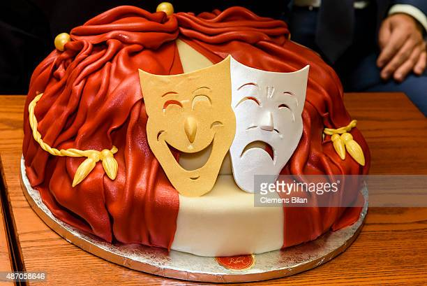 A cake during the theatre premiere of 'Amadeus' with Dieter Hallervorden celebrating his 80th birthday on September 06 2015 in Berlin Germany