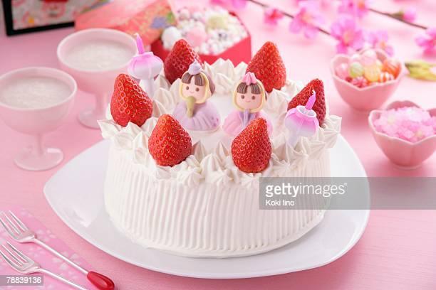 cake for hinamatsuri festival - hinamatsuri stock pictures, royalty-free photos & images
