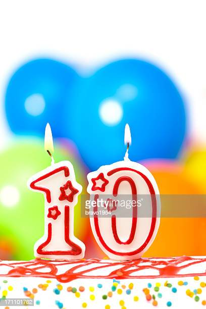 cake for tenth birthday - 10 11 years stock photos and pictures