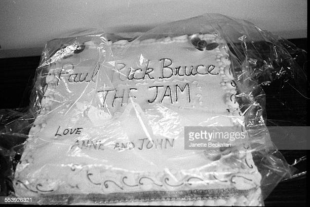 A cake for The Jam from Paul Weller's parents Anne and John backstage at the band's farewell concert Brighton Centre Brighton United Kingdom 11th...