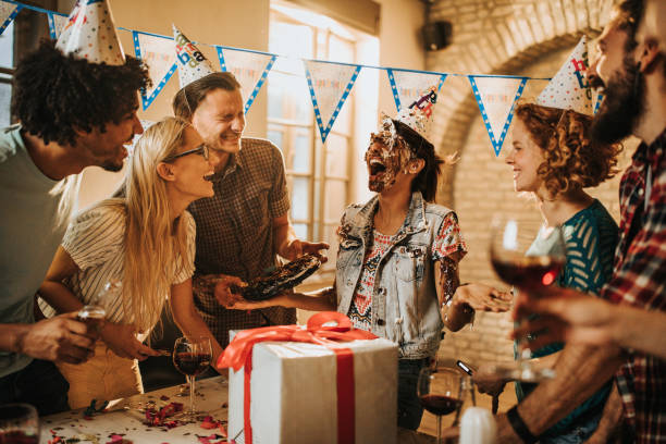 cake in the face for your birthday! - best friend birthday cake stock pictures, royalty-free photos & images