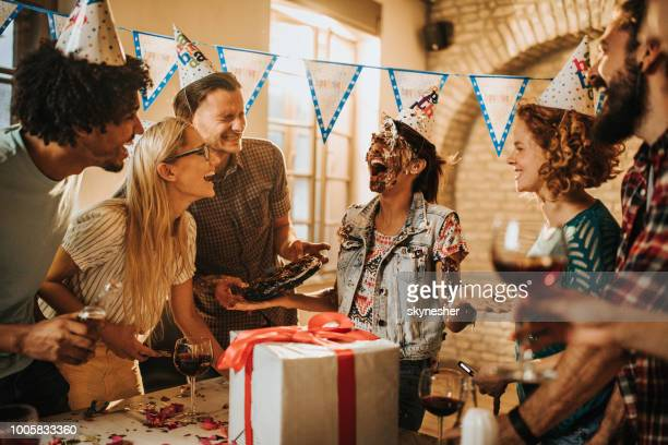 cake in the face for your birthday! - happy birthday stock pictures, royalty-free photos & images