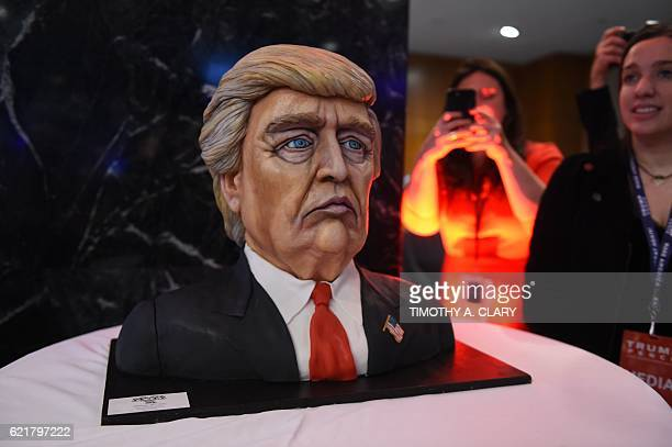 A cake in the likeness of Republican presidential nominee Donald Trump is on display at his election night event at the New York Hilton Midtown in...