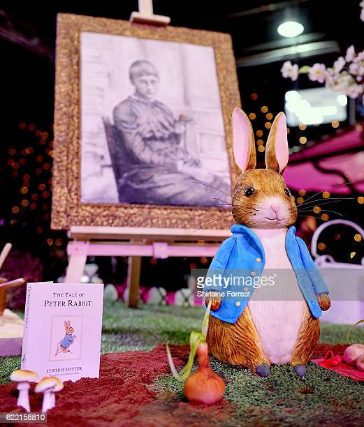 Cake in the shape of Beatrix Potter's Peter Rabbit on display at The Cake and Bake Show at Event City on November 10, 2016 in Manchester, England.