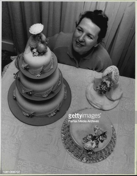 Cake Judge Mary Medway of Chatswood with some of her cakes July 17 1987