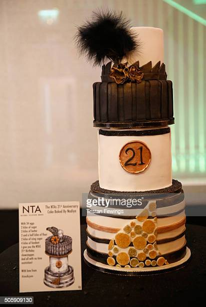 A cake made by Great British Bake Off winner Nadiya Hussain for the 21st National Television Awards at The O2 Arena on January 20 2016 in London...