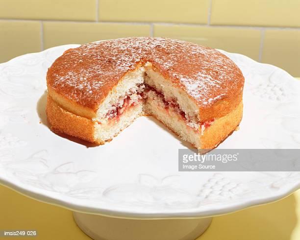 Cake on a cake dish
