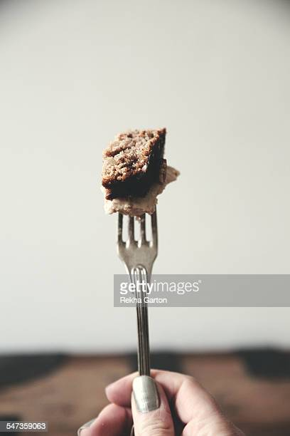 cake on a fork - rekha garton stock pictures, royalty-free photos & images
