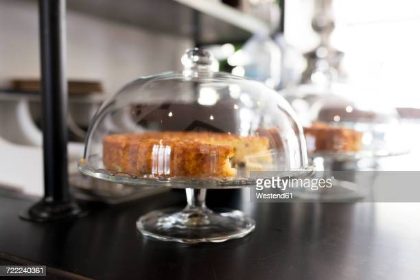 Cake on glass cake stand in a coffee shop