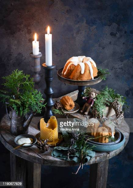 cake - christmas decore candle stock pictures, royalty-free photos & images
