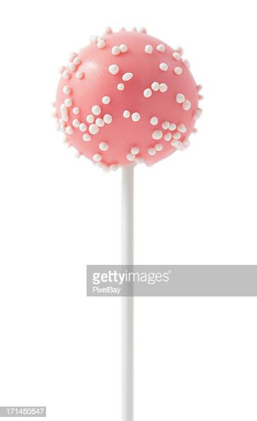 cake pop - pink with white ball sprinkles - lollipop stock pictures, royalty-free photos & images