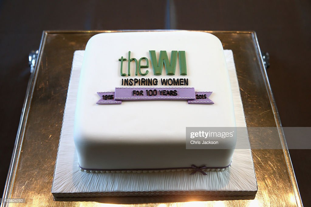 A cake presented to Queen Elizabeth II Celebrating 100 Years of the Women's Institute at the Centenary Annual Meeting of The National Federation Of Women's Institute at Royal Albert Hall at the Royal Albert Hall on June 4, 2015 in London, England.