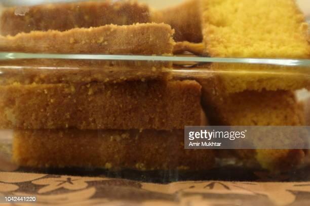 Cake rusk (Crisp Bread) in a glass bowl