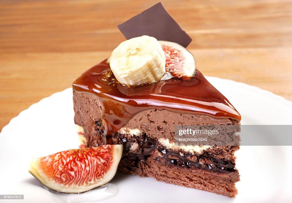 cake slice in plate : Stock Photo