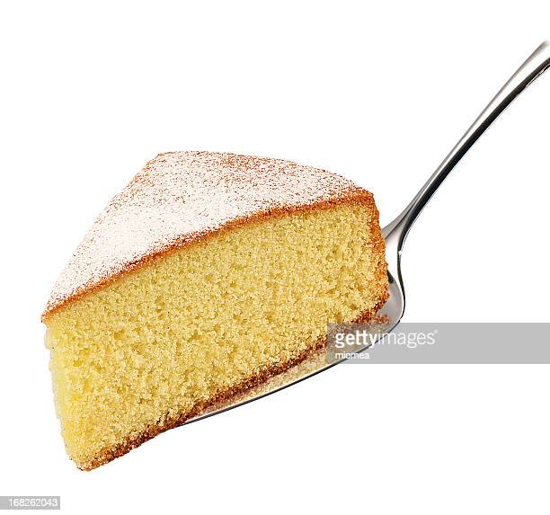 A cake slice on a silver spoon