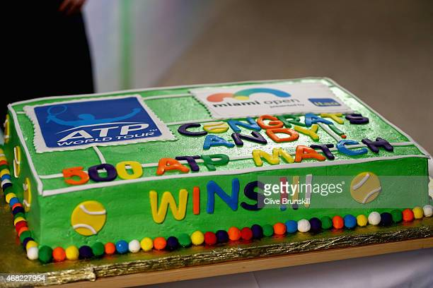 A cake to celebrate Andy Murray of Great Britain for his 500th ATP Tour victory against Kevin Anderson of South Africa in their fourth round match...