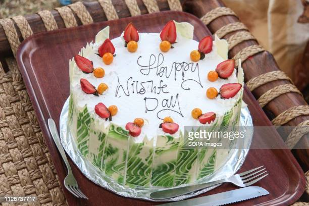 A cake to commemorate this year's world Wildlife Day is displayed on the table in Lake Nakuru National Park