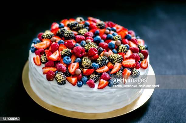 Cake with berries. Honeycake