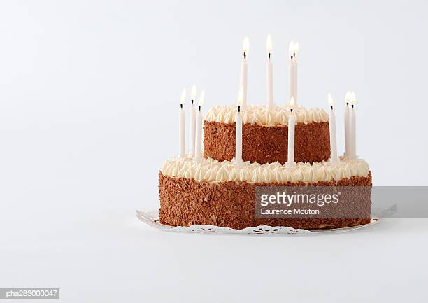 cake with candles - birthday cake stock photos and pictures