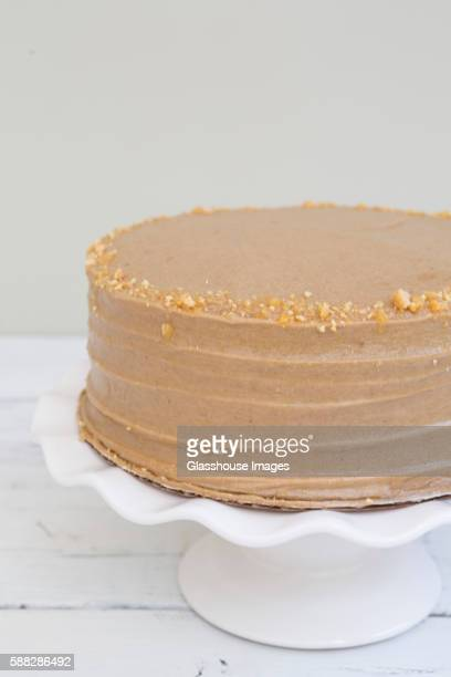 Cake with Chocolate Icing and Peanut Brittle