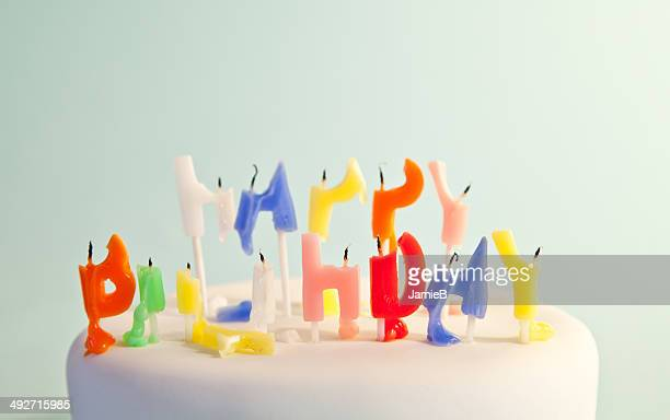 cake with happy birthday candles - birthday cake lots of candles stock photos and pictures