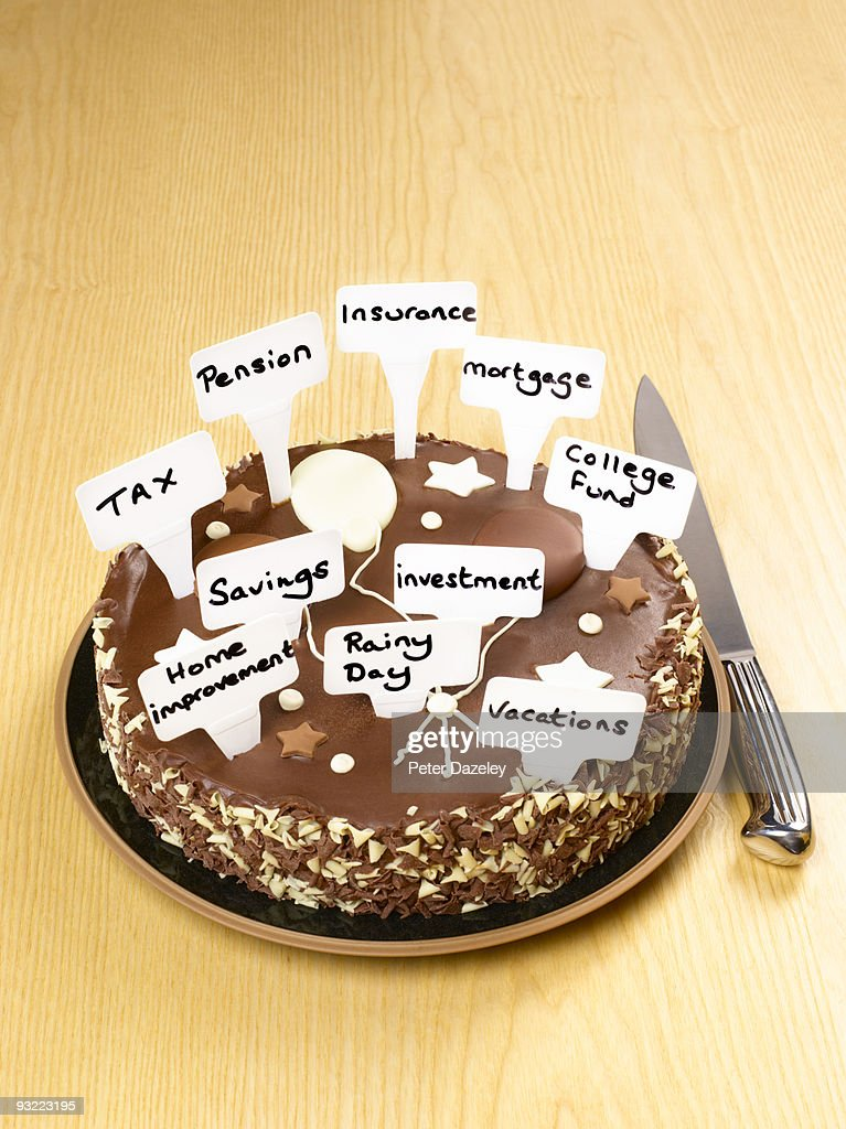 Cake With Investment Choices Stock Foto