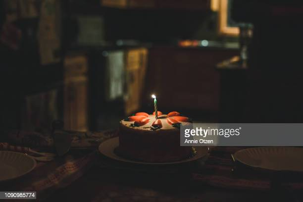 cake with one candle - birthday cake stock pictures, royalty-free photos & images