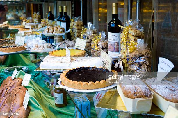 Cakes and pastries in Fabbrica Taddeucci patisserie shop and cafe in Piazza San Michele Lucca Italy