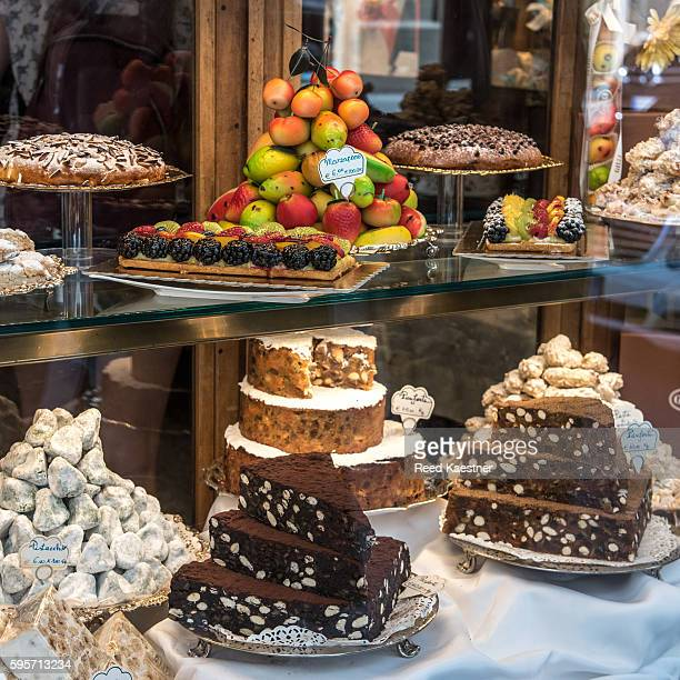 Cakes and sweets in shop window. Florence.