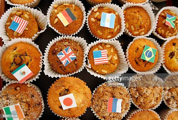 G20 cakes decorated with the flags of the attending countries sit in the media centre at the G20 Finance Ministers meeting at South Lodge Hotel near...