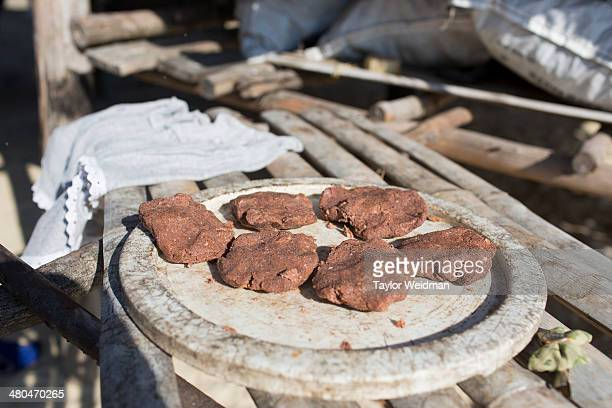 Cakes made from rice and fish are dried in the sun at the Moken village in Ko Surin National Park Often called sea nomads or sea gypsies the Moken...