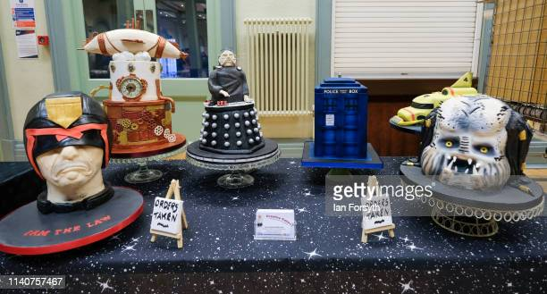 Cakes with a Sci Fi theme are displayed on a stall on the first day of the Scarborough Sci-Fi weekend at the seafront Spa Complex on April 06, 2019...